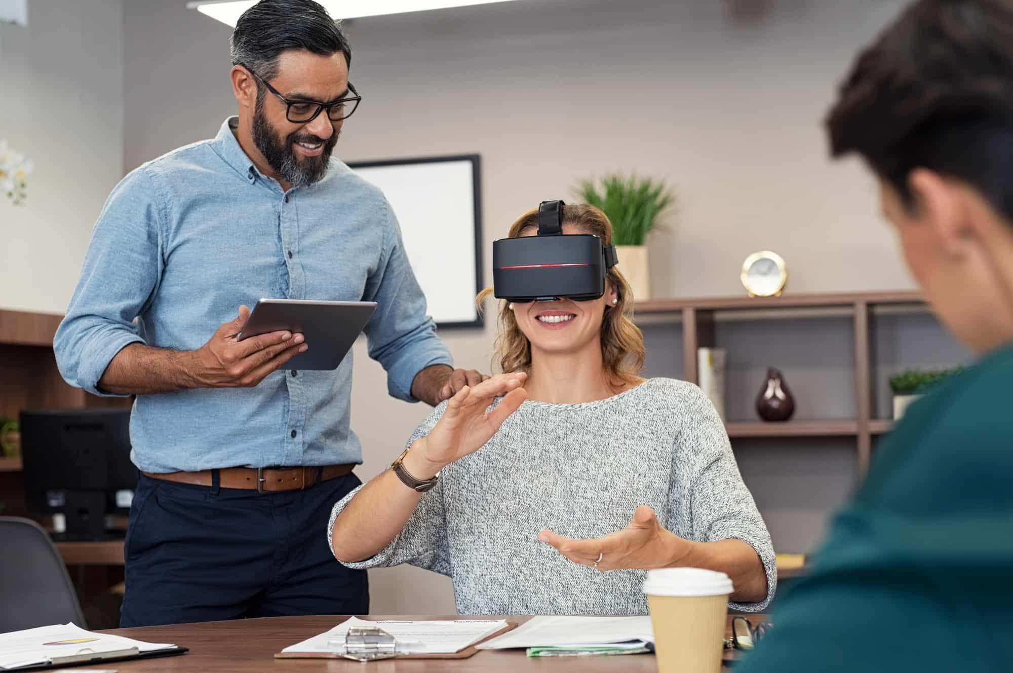 Woman with virtual googles at office